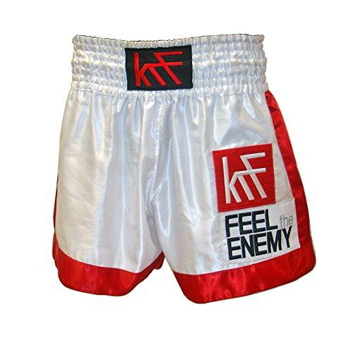 KRF Feel The Enemy Thai Liso Pantalones Cortos de Boxeo, Hombre, Blanco, M