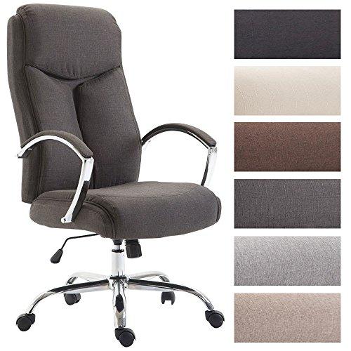 CLP Bürostuhl XL Vaud mit Stoffbezug, Chefsessel, Drehstuhl mit Armlehnen, Bürodrehstuhl mit hochwertige Polsterung, max. Belastbarkeit 140 kg, Dunkelgrau