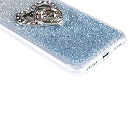 Für iPhone 7 Plus 5.5 Zoll Ultra Dünn Silikon Tasche,Für iPhone 7 Plus 5.5 Zoll Bling Glitter Schutz Hülle mit Liebe Herzen Ring Halter,Funyye Luxus [Herzen Ring Gold Gradient Farbe] Sparkles Glänzend Herzen Ring Licht Blau
