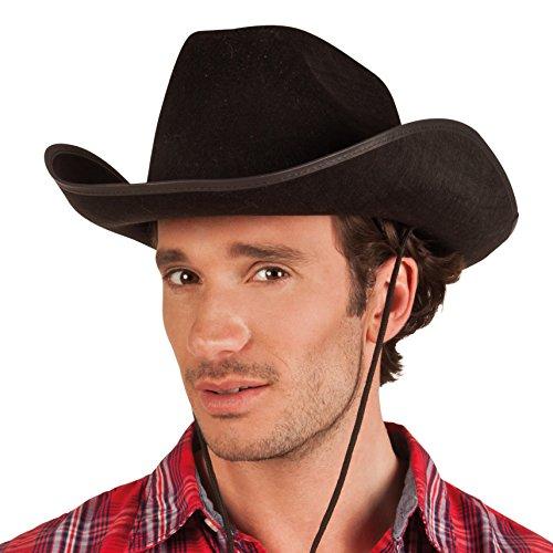 Boland 04071 - Erwachsenenhut Cowboy, Einheitsgröße, schwarz Cowboy-hut Halloween