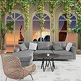 Hwhz Tapete 3D Südostasiatischen Stil Holzboot 3D Wallpaper Mural Balkon Wohnzimmer Dekoration Hintergrund-280X200Cm