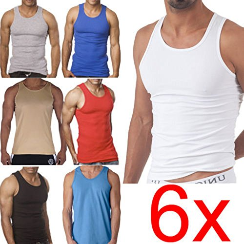 mens-fitted-100-cotton-vests-pack-of-6-extra-large-assorted-colours