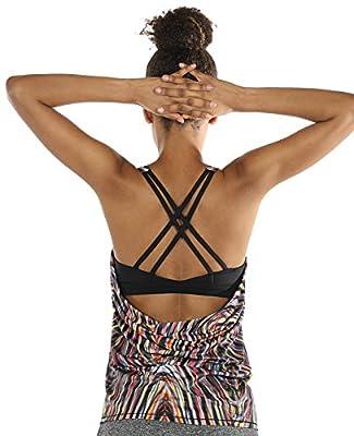 icyzone Fitness Shirt Damen Sport Tops mit BH - X Rücken Gym Yoga Oberteile 2 in 1 from icyzone