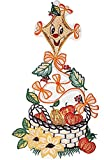 Fensterbild Plauener Stickerei® Drachen Obstkorb Bunt Spitzenbild Herbst 16x33 cm + Saugnapf