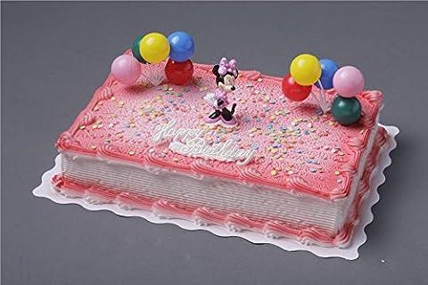 """Cake Company hochwertige Torten-Figur """"Minnie Mouse"""" von Bullyland mit Happy Birthday Schriftzug   Plastik-Figur mit 2 Ballontrauben & essbaren Zucker-Konfetti für Torten-Deko   ideal für Motiv-Torten"""