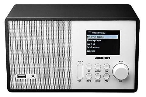 MEDION E85040 MD 87540 Internetradio mit Fernbedienung, 2,4 Zoll TFT Farb-Display, 40 Speicherplätze, Holzgehäuse, USB,