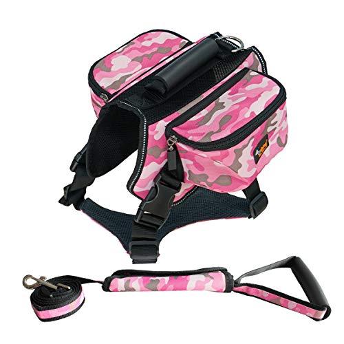 PET HOUND Hund Rucksack Satteltasche Hund Mode,Hundeleine Anzug,Rucksack Für Hunde Verstellbar Pack Zubehör Für Wandern Camping Reise,XL -