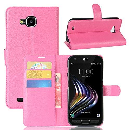 Kihying Hülle für LG X Venture Hülle Schutzhülle PU Leder Flip Wallet Fashion Geschäft HandyHülle (Rose rot - JFC05)