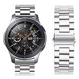 iBazal 22mm Cinturino Metallo Rilascio Rapido Acciaio per Gear S3 Frontier/S3 Classic SM-R760, Galaxy Watch 46mm SM-R800, Huawei Watch GT/Watch 2 Classic, TicWatch PRO, Amazfit Stratos - Moda Argento