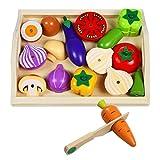 Fruits et Légumes Jouets à Découper Bois Jeu Magnétique Enfant Jeux Imitation Cuisine Enfant 3 4 5 6 7 Ans, 10 Légumes
