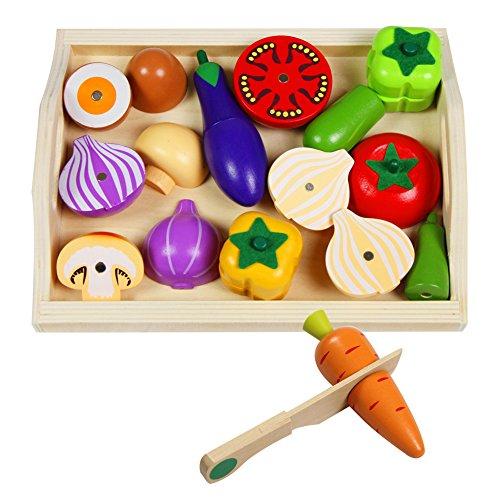Frutas y Verduras Juguete Madera Magnético Frutas Juguete para Cortar Cocinita Juguete Madera para Niños, 22 Piezas