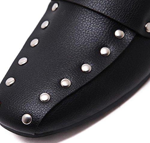 GLTER Damen flache Schuhe Casual Schuhe Slip-On Niet Low Heel Square Schuhe Maultiere Schuhe Black Court Schuhe Closed-Toe Pumps Schwarz Weiß Black