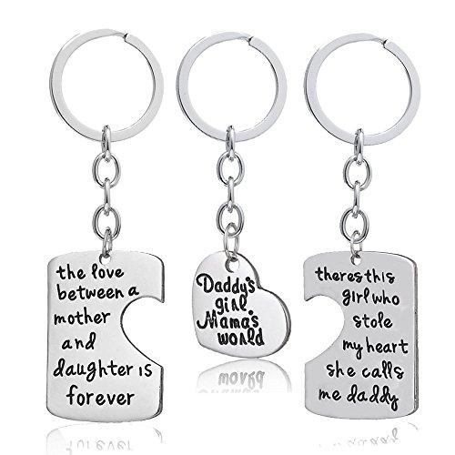 3-teiliges Schlüsselanhänger-Set für Tochter/Vater/Mutter/die Familie,