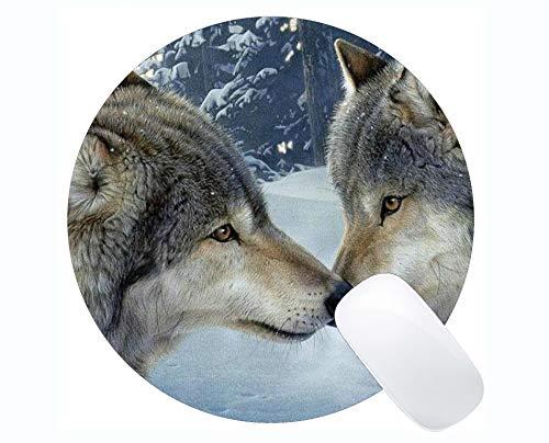Runde Mausunterlage, Schnee Wildlife Winter Tier Love Wolf Mauspads für Computer Laptop 230 x 230 x 3 mm