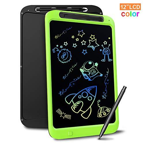 Richgv Bunte 12 Zoll LCD Writing Tablet mit Anti-Clearance Funktion und Stift, Digital Ewriter Grafiktabletts Mini Schreibtafel Papierlos Notepad Doodle Board (Grün)
