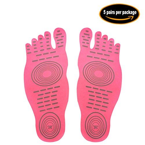 Calzini a piedi nudi per l'esercizio di piscine per piscina, pattino d'acqua, calzini antisdrucciolevoli di yoga, piedino adesivo adesivo per le donne, protezione elastica dei piedini flessibili Rosa (5 paia)