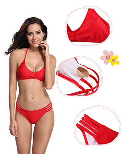 SHEKINI Damen Neckholder Gepolstert Bandage Bikini Raffung Oberteil Push up Bikini Set Bademode Badeanzüge Tankini Rot