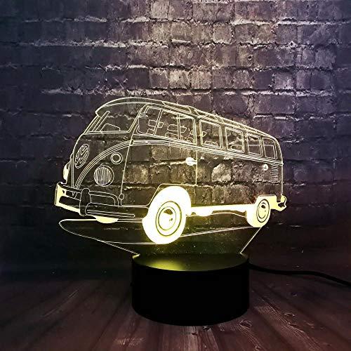 Kreative Nette 3D Effekt Acryl Panel Bus Nachtlicht 7 Farbe Ladung Lava Decor Tisch Stimmung Illusion Urlaub Kinder Geschenk Spielzeug -