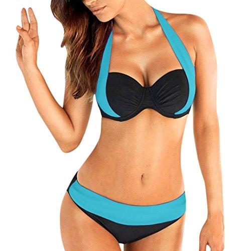 feiXIANG Damen Frauen mehrfarbig Split Farbe Bikini Badeanzug plus Größe gepolsterte bh bandeau bademode badeanzug bikini (L, Hellblau) (Bikini Zwei Stück Halter)