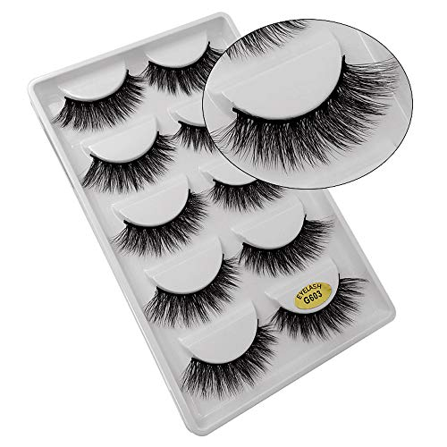 SMILEQ® 5 Paar Make-Up 3D Natürliche Dicke Falsche Wimpern Erweiterung (5 Paar, C)