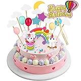 Joyoldelf kit di Decorazioni per Torta Unicorno - Unicorno Party con Arcobaleno Palloncini Nuvole Stelle Luna, Festa a Tema e Tecorazione Torta