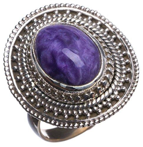 stargems (TM) Natürliche Tscharoit handgefertigt Vintage 925Sterling Silber Ring, UK Größe N 1/2