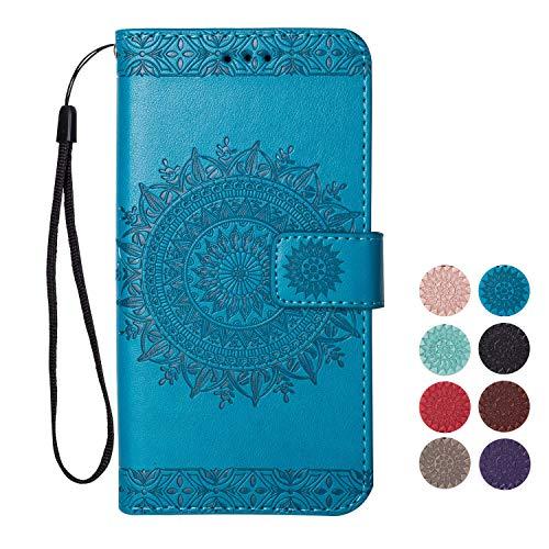 Rose-Otter Kompatibel für Samsung Galaxy S5 Hülle Leder Handyhülle Flip Case Kartenfach Klappbar Stoßfest Bumper Schutzhülle Tasche mit Muster Mandala Blume Tiefes Blau (Für Otter Case Samsung Galaxy S5)