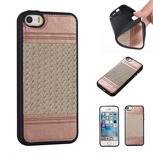 Pour iPhone 5 5S 5G / iPhone SE Case Cover, Ecoway TPU Conception de texture tissée Housse en silicone Housse de protection Housse pour téléphone portable pour iPhone 5 5S 5G / iPhone SE - Rose or + r Rose or + gris