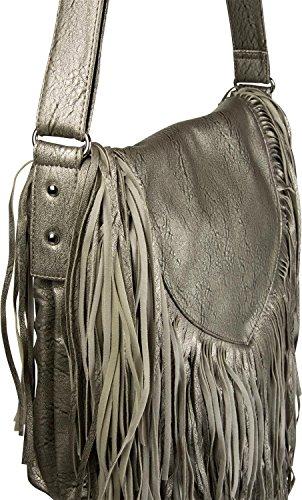 styleBREAKER borsa a tracolla con frange in stile etnico, borsa da spalla, borsetta, borsa, donne 02012188, colore:Crema-Bianco Antico-Grigio scuro