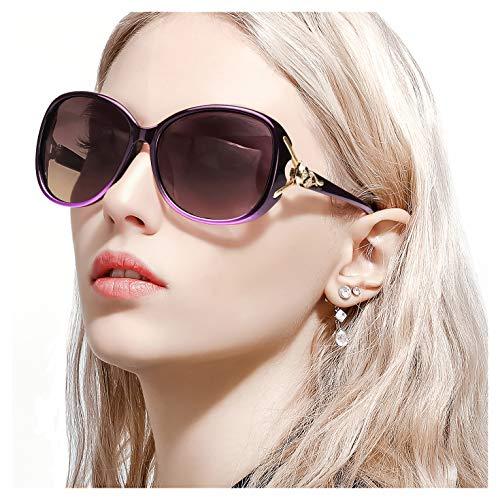 FIMILU Sonnenbrillen Damen Über-Groß, Retro Designer Polarisiert Brille Frauen, 100% UVA/UVB Schutz (Violett-1,Violett-1)