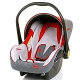 Babyschale DELUXE Autositz Babytrage + Fußsack & Sonnendach (ROT / GRAU / BEIGE) - 3