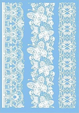 COKOHAPPY Blanc Dentelle Temporaire Tatouage Papillon Fleur Henné