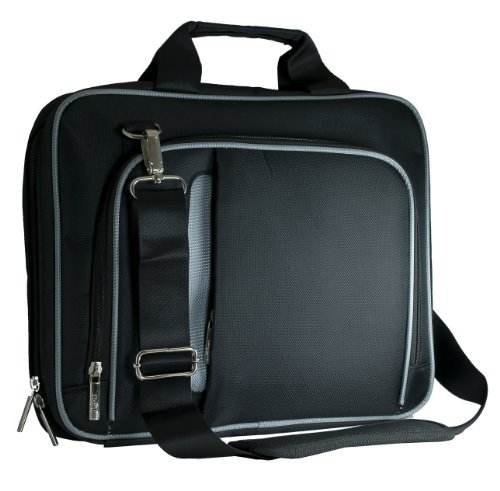 Barnes & Noble Nook HD+ 9 Messenger Lightweight Shoulder Bag Black with Gray Trim Pin Shoulder Pad Carrying Case Sturdy Material