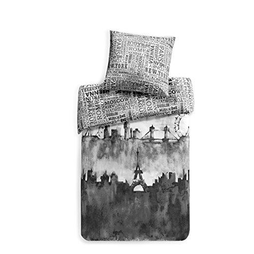 Renforcé Bettwäsche Set City Scape 2-Teilig Wendebettwäsche mit Skyline & Schriftzügen Bettwäschegarnitur Bettbezug Kissenbezug100% Baumwolle Einzelbett Grau, 135x200cm+80x80cm