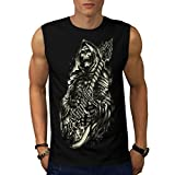 Skeleton DJ Guitar Music Wizard Men NEW Black S-2XL Sleeveless T-shirt | Wellcoda