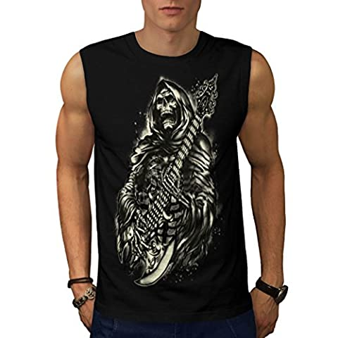 Grim Reaper Skull Music Men M Sleeveless T-shirt | Wellcoda