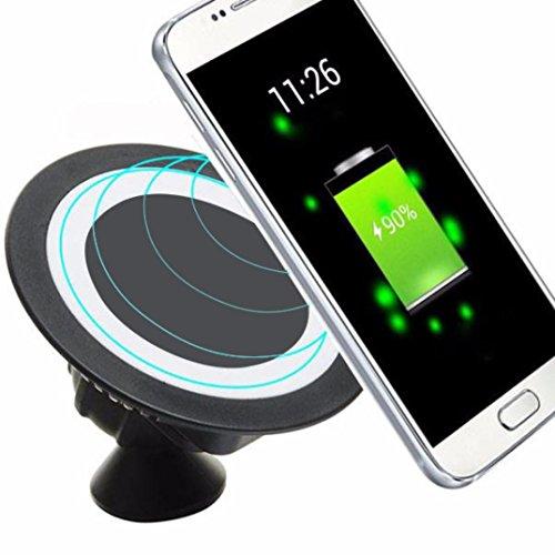 Preisvergleich Produktbild Prevently Fast Wireless Charger Drahtlos Induktive Schnellladestation Qi Wireless Ladegerät Dock 360 rotierenden Halterung Kfz-Halter Ladepad und alle Qi-fähige Geräte (Schwarz)