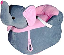 Shah Brothers Enterprises Toys Cute Elephant Shape High Quality Soft Toy Chair|seat for Baby Sitting|Soft Toy Chair for Kids Birthday (Color- Grey, Size- 51cm)
