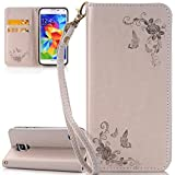 ISAKEN Compatibile con Samsung Galaxy S5 Custodia - Libro Flip Case Portafoglio Wallet Cover in PU Pelle Tinta Unita Custodia Embossed Rose Caso con Supporto di Stand/Carte Slot, Rose: Grigio