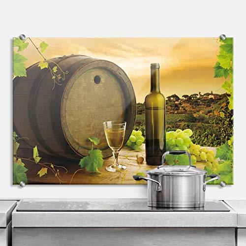 Spritzschutz Grapevine Küche Küchenrückwand Wein Glas Flasche Weintrauben Fass Wall-Art - 80x60 cm