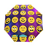 Funnyy Emoji Universe Space Nebula Auto Folding Windproof Compact Portable Umbrella Travel for Girls Kids Men