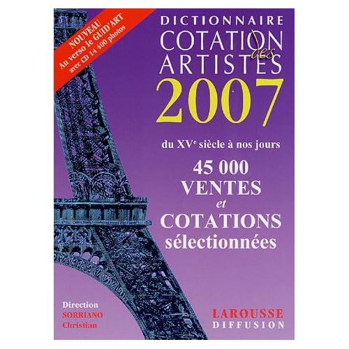 Dictionnaire Cotation des artistes 2007 (1Cédérom)