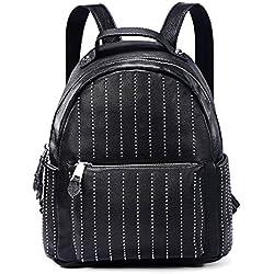 DonDon mujeres mochila de piel PU con remaches a rayas negro