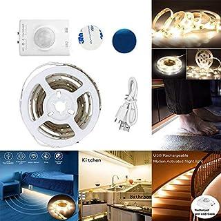 LED-Bewegungs-Sensor-Licht,3.28ft 3000K warmes weißes Doppelmodus-LED-Streifen-Licht mit automatischer Abschaltung Timer, drahtloser PIR Bewegungs-Sensor aktiviert, Beleuchtung für Küche, Fach