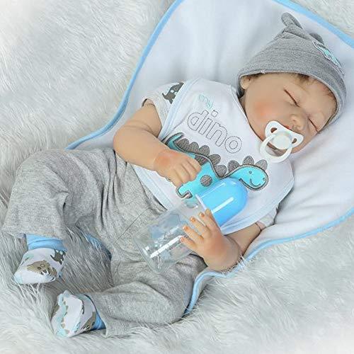 Realista Dormir Reborn Baby Doll Muñecas bebé Chico Real de Silicona Suave Ojos Cerrados Toddler Babies Niño 22 Pulgadas 55 cm