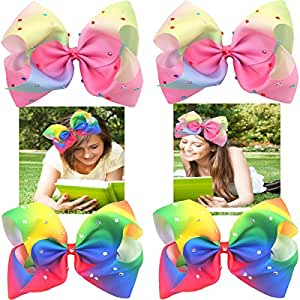 954ffe59c 4 Pcs 18cm Extra Large Hair Bows Clips with Sparkly Glitter ...