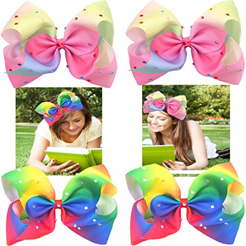 Extra große Haarschleifen (18cm) in Regenbogenfarben mit Glitzer und Strass, Krokodilklemme, für Mädchen, Kleinkind, Teenager, Frauen, 4Stück
