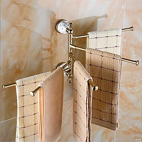 MIWANG European Style Gold Chrome Plated Towel Rack, Revolving Towel Rack, Towel Rod, Three Pole, Four or Five Pole,Silver Five Pole