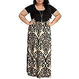KaloryWee Robes pour Femme Chevron Imprimé d'été à Manches Courtes Taille Plus Décontracté Maxi Robe, Marron, Label Size L4