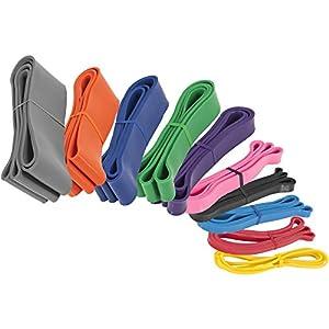 GORILLA SPORTS® Fitnessband aus Naturlatex 208 x 0,45 cm Einzeln/Set – Trainingsbänder in 10 verschiedenen Stärken/Farben